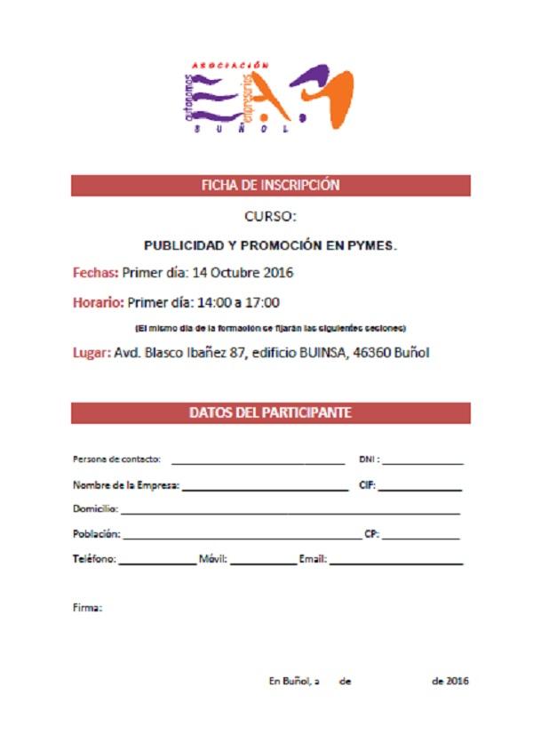 Ficha de Inscripción Curso: Publicidad y promoción en pymes