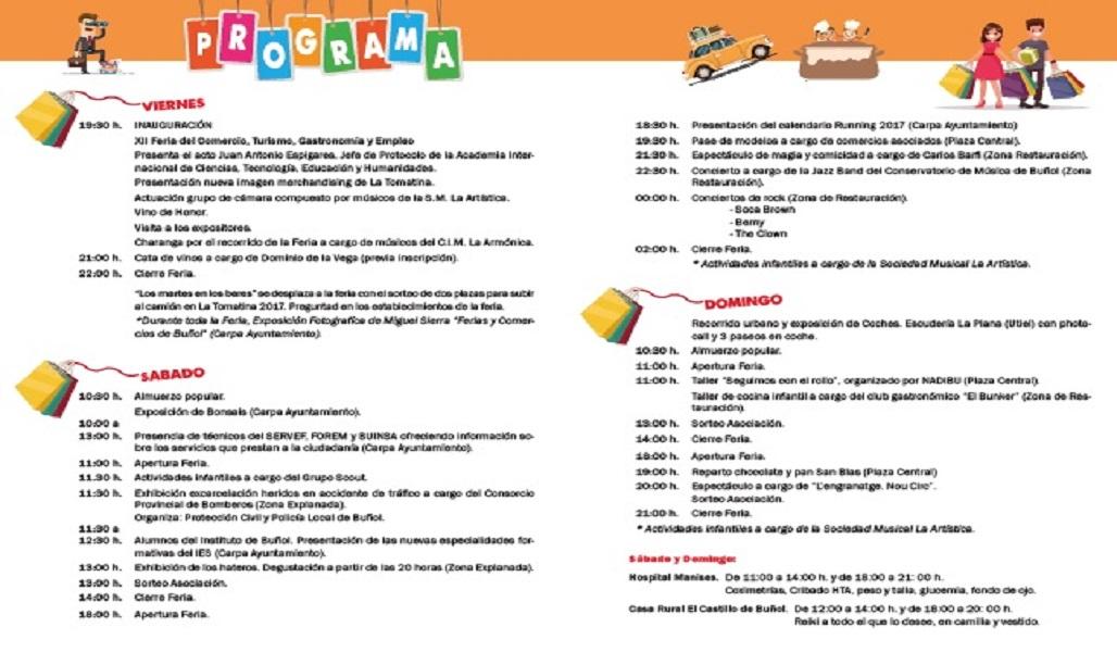 Programación XII Feria del Comercio, Turismo, Gastronomía y Empleo de Buñol