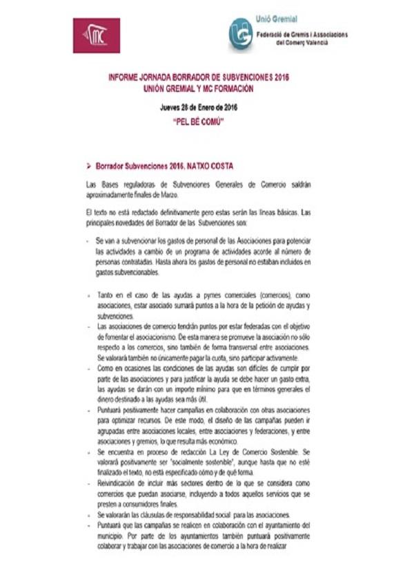 Informe jornada borrador subvenciones 2016